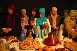 Muslims breaking their fast
